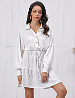 cheap -Women's A-Line Dress Short Mini Dress - Long Sleeve Solid Color Ruched Patchwork Fall Shirt Collar Casual Lantern Sleeve Cotton Slim 2020 White S M L XL