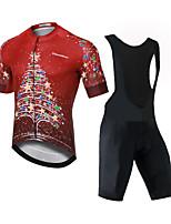 cheap -CAWANFLY Men's Short Sleeve Cycling Padded Shorts Cycling Jersey with Bib Shorts Red Bike Moisture Wicking Sports Mountain Bike MTB Road Bike Cycling Clothing Apparel / Expert / Racing / Stretchy