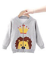 cheap -Kids Boys' Basic Lion Animal Print Long Sleeve Blouse Red