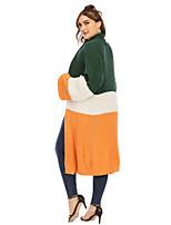 cheap -Women's Color Block Cardigan Acrylic Fibers Long Sleeve Plus Size Oversized Sweater Cardigans V Neck Orange