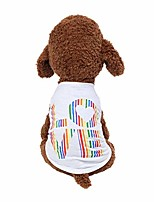 cheap -[ship from usa] rainbow colors love print dog shirts, soft & breathable puppy vest, summer pet dog cat clothes (white)