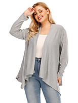 cheap -Women's Knitted Solid Color Plain Cardigan Long Sleeve Plus Size Oversized Sweater Cardigans V Neck Fall Winter Gray