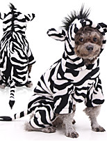 cheap -Dog Cat Costume Zebra Cosplay Winter Dog Clothes Black / White Costume Flannel Fabric XS S M L XL XXL