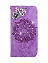 cheap -Case For Samsung Galaxy s5 s6 s7 s6edge s7edge s8 s8plus s9 s9plus Card Holder Rhinestone Magnetic Full Body Cases Solid Colored Flower PU Leather TPU
