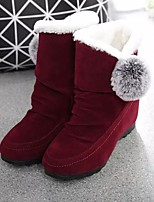 cheap -Women's Boots Snow Boots 2020 Flat Heel Round Toe Casual Daily Pom-pom Solid Colored PU Mid-Calf Boots Black / Red / Gray