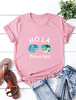 cheap -Women's T-shirt Letter Print Round Neck Tops 100% Cotton Basic Hawaiian Basic Top Black Blue Blushing Pink