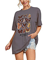cheap -women's butterfly printed graphic loose tee short sleeve round neck loose tshirt tops & #40;medium, grey& #41;