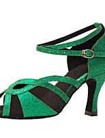 cheap -Women's Latin Shoes Heel Slim High Heel PU Leather Buckle Paillette Green