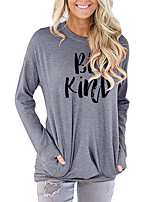 cheap -Women's T-shirt Letter Long Sleeve Print Round Neck Tops Batwing Sleeve Loose Basic Basic Top Blushing Pink Green Light gray