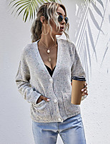 cheap -Women's Solid Color Plain Cardigan Long Sleeve Loose Sweater Cardigans Halter Neck Spring Fall White