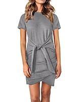 cheap -Women's T Shirt Dress Tee Dress Short Mini Dress - Short Sleeve Solid Color Ruched Summer Casual Going out Slim 2020 Black Camel Gray S M L XL