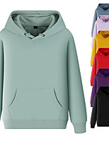 cheap -Women's Hoodie Sweatshirt Hoodies Pullover Hoody Black White Blue Pure Color Pocket Drawstring Hooded Cotton Solid Color Cute Sport Athleisure Top Long Sleeve Breathable Soft Comfortable Exercise
