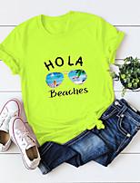 cheap -Women's T-shirt Letter Round Neck Tops 100% Cotton Basic Hawaiian Basic Top White Yellow Orange