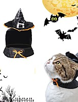 cheap -Dog Cat Halloween Costumes Bandanas & Hats Patchwork Witch Unique Design Cool Christmas Party Dog Clothes Breathable Black Costume Cotton One-Size