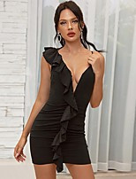cheap -Women's Strap Dress Short Mini Dress - Sleeveless Solid Color Backless Ruffle Summer V Neck Sexy Party Going out Slim 2020 Black S M L
