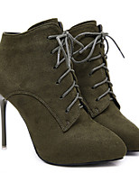 cheap -Women's Boots Stiletto Heel Pointed Toe Basic Daily Solid Colored Nubuck Booties / Ankle Boots Black / Army Green