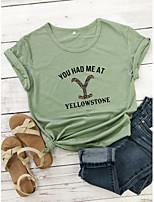 cheap -Women's T-shirt Graphic Prints Letter Print Round Neck Tops Slim 100% Cotton Basic Basic Top White Purple Yellow