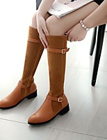 cheap -Women's Boots Wedge Heel Round Toe Vintage Daily Solid Colored PU Knee High Boots Black / Yellow / Gray