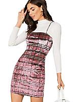 cheap -women's plaid print mini cami bodycon velet dress pink m