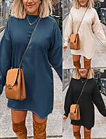 cheap -Women's A-Line Dress Short Mini Dress - Long Sleeve Solid Color Summer Sexy Lantern Sleeve Loose 2020 Black Khaki Navy Blue S M L XL XXL