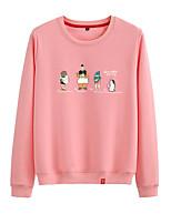 cheap -Women's Sweatshirt Womens Pullover Sweatshirts Black White Pink Cartoon Crew Neck Cotton Cartoon Cute Sport Athleisure Pullover Long Sleeve Breathable Warm Soft Comfortable Everyday Use Causal