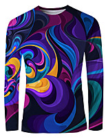 cheap -Men's Daily T-shirt Graphic Long Sleeve Tops Basic Elegant Round Neck Purple
