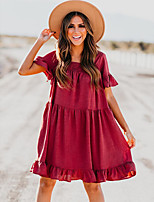 cheap -Women's Shift Dress Knee Length Dress - Short Sleeve Solid Color Ruffle Summer Square Neck Casual Daily Loose 2020 Red S M L XL