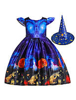 cheap -Witch Dress Hat Kid's Girls' Vacation Dress Halloween Halloween Festival / Holiday Cotton Polyster Blue Easy Carnival Costumes