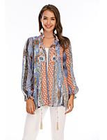 cheap -Women's Blouse Shirt Graphic Prints Long Sleeve Print Standing Collar Tops Chiffon Basic Basic Top Blue