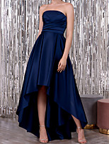 cheap -A-Line Elegant Minimalist Wedding Guest Formal Evening Dress Strapless Sleeveless Asymmetrical Satin with Ruched 2020