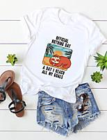 cheap -Women's T-shirt Cartoon Letter Round Neck Tops 100% Cotton Basic Hawaiian Basic Top White Blue Yellow