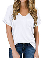 cheap -Women's T-shirt Solid Colored Pocket V Neck Tops Cotton Basic Basic Top White Black Blue