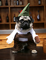 cheap -Dog Cat Halloween Costumes Costume Shirt / T-Shirt Bartender Beer Cosplay Cool Christmas Party Dog Clothes Breathable Brown Costume Polyester S M L XL