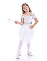 cheap -Princess Flapper Dress Cosplay Costume Outfits Girls' Movie Cosplay Active Vacation Dress White Dress Headwear Halloween Children's Day Masquerade Polyester Organza