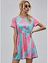 cheap -Women's A-Line Dress Knee Length Dress - Short Sleeve Tie Dye Summer Casual Going out Cotton Slim 2020 Blushing Pink XS S M L