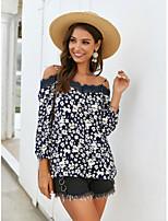 cheap -Women's T-shirt Floral Print Off Shoulder Tops Basic Basic Top Yellow Wine Navy Blue