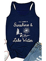 cheap -all i need is sunshine lake water tank top women summer sleeveless cute graphic print vacation vest top size l & #40;navy blue& #41;