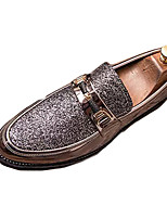 cheap -Men's Fall Casual Daily Loafers & Slip-Ons PU Non-slipping Black / Gold / Silver