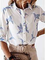 cheap -Women's Blouse Shirt Bird Long Sleeve Print Shirt Collar Tops Basic Basic Top White