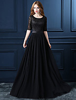 cheap -A-Line Elegant Cut Out Wedding Guest Formal Evening Dress Jewel Neck Half Sleeve Floor Length Lace with Sash / Ribbon Embroidery 2020