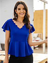 cheap -Women's Blouse Shirt Solid Colored Flowing tunic V Neck Tops Basic Basic Top Royal Blue