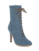 cheap -Women's Boots Stiletto Heel Pointed Toe Daily Party & Evening Jeans Canvas Booties / Ankle Boots Black / Dark Blue / Light Blue
