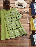 cheap -Women's Blouse Shirt Cat Print Round Neck Tops Basic Basic Top Black Yellow Green
