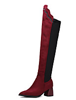 cheap -Women's Boots Wedge Heel Pointed Toe Sexy Daily Solid Colored Nubuck Over The Knee Boots Black / Red