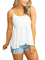 cheap -women& #39;s flowy summer tank tops adjustable straps back tie cami crew neck tees & #40;white,large& #41;