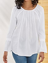 cheap -Women's Blouse Shirt Solid Colored Long Sleeve V Neck Tops Cotton Basic Basic Top White