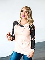 cheap -Women's Daily Pullover Hoodie Sweatshirt Floral Casual Hoodies Sweatshirts  Blushing Pink Dark Gray