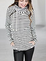 cheap -Women's Daily Pullover Hoodie Sweatshirt Striped Casual Hoodies Sweatshirts  White Black Red