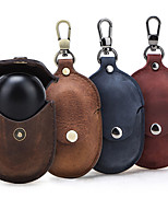 cheap -Case For Galaxy Buds Flip Headphone Case Soft Protective Cover Genuine Leather Vintage Style with Keychain buckle