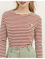 cheap -Women's Blouse Solid Colored Long Sleeve Round Neck Tops Slim Cotton Basic Basic Top Green Brown